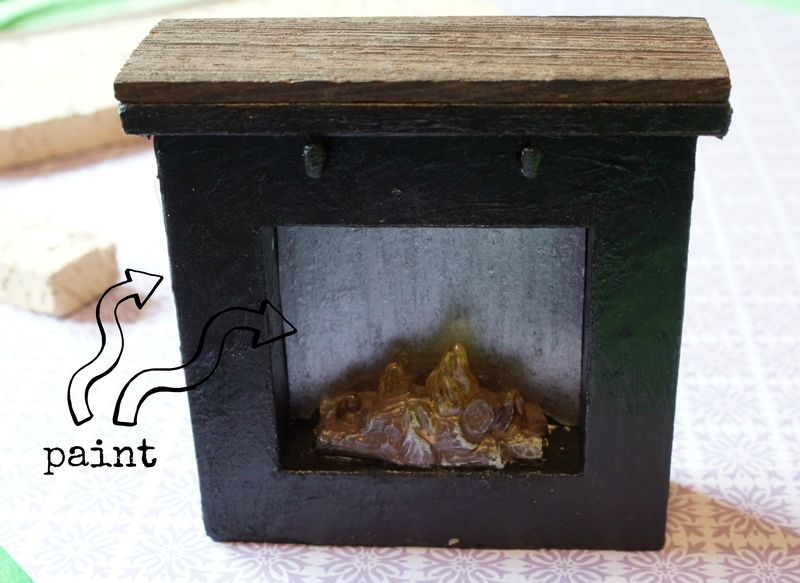 Lundby painted fireplace