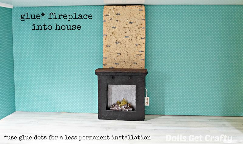 Lundby glue fireplace into house