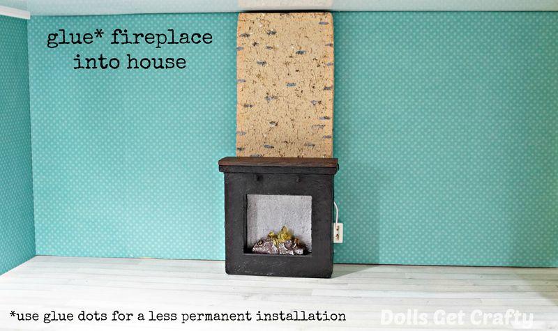 Lundby glue fireplace into house